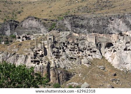 medieval cave city/monastery Vardzia,Georgia,Transcaucasus - stock photo