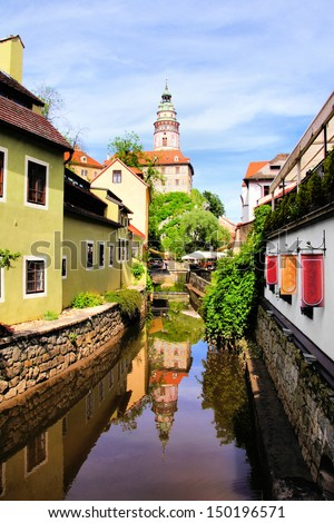 Medieval Cesky Krumlov canal with castle and reflections, Czech Republic - stock photo
