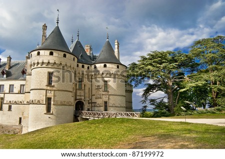 medieval Chaumont castle - Loire valley, France - stock photo