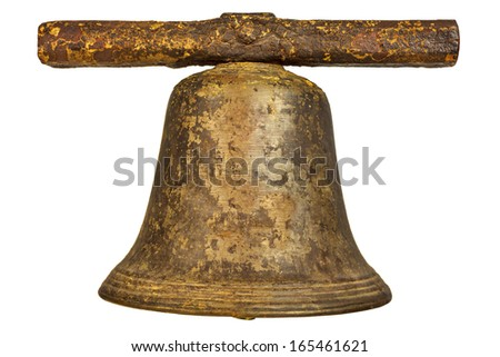 Medieval church bell isolated on a white background - stock photo