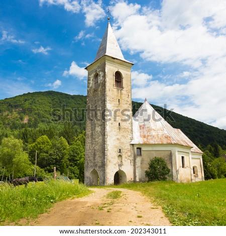 Medieval church in Srednja vas near Semic, Slovenia, Europe. - stock photo
