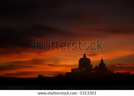 medieval city of Malta in silhouette at sunset - stock photo