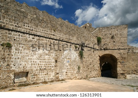 Medieval city walls in Rhodes town, Greece