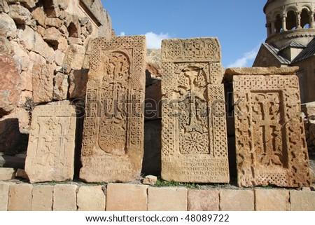 medieval cross stone,armenia - stock photo