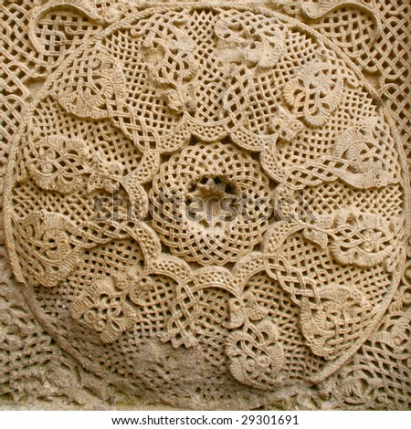 medieval cross stone detail,armenia - stock photo