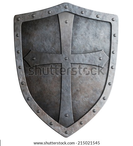 medieval crusader knight's shield isolated on white - stock photo
