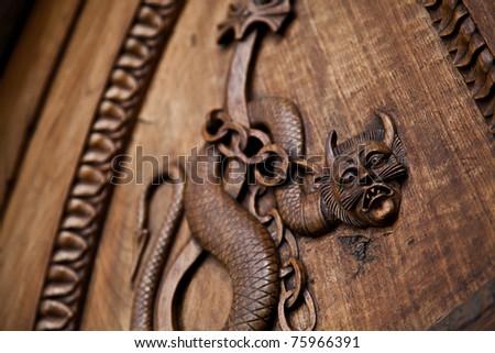 Medieval Demon On Antique Door Sacra Stock Photo 75966391 ...