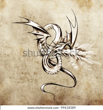 Medieval dragon figure. Sketch of tattoo art over antique paper - stock photo
