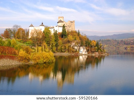 Medieval Dunajec castle in Niedzica by lake Czorsztyn, Poland - stock photo
