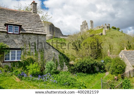 medieval english stone house and castle ruins Corfe Castle, Purbeck, Dorset, England, United Kingdom