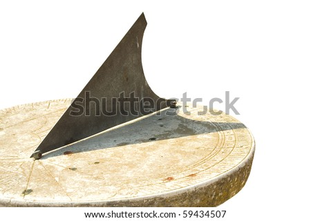 Medieval European sundial. Isolated object - stock photo