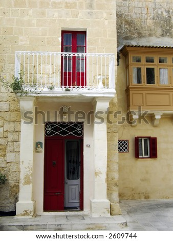 Medieval facade of house in the old city of Mdina, Malta