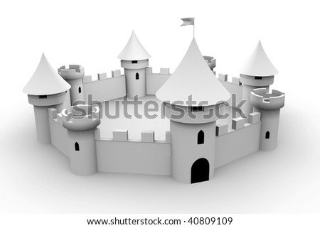 medieval fort with defense towers - stock photo