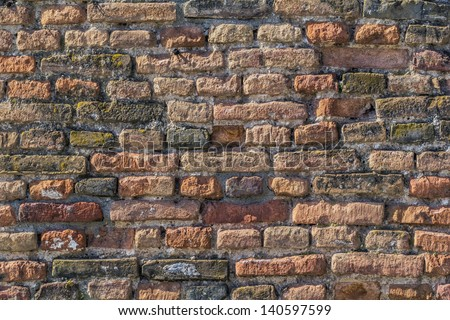 Medieval Fortress Antique Brick Rampart - stock photo