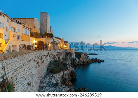 Medieval fortress at dawn Antibes, France - stock photo