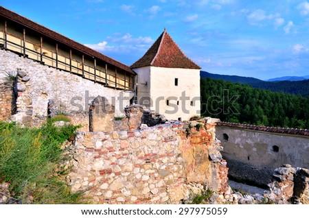 Medieval fortress in Rasnov, Transylvania, Romania  - stock photo