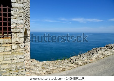 Medieval fortress on Cape Kaliakra, Black Sea, Bulgaria - stock photo