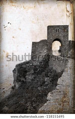 Medieval fortress on Cape Kaliakra, Black Sea, Bulgaria .Photo in old image style. - stock photo