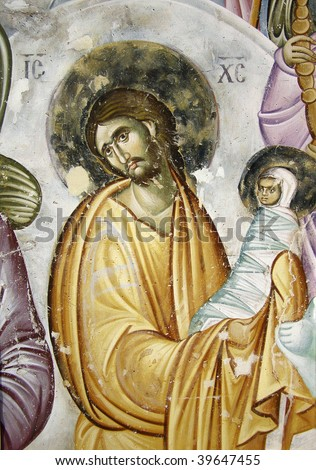 Medieval fresco. Resurrection of Virgin Mary - stock photo