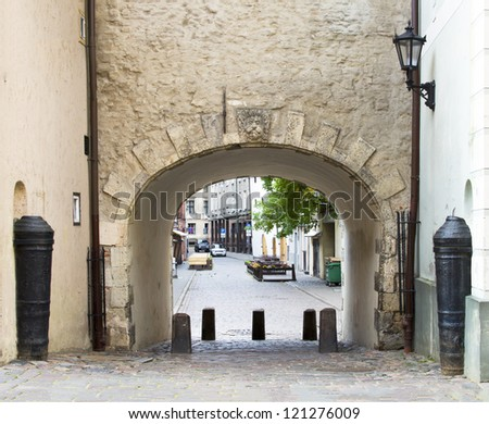 Medieval gate in old Riga city, Latvian capital, Europe - stock photo