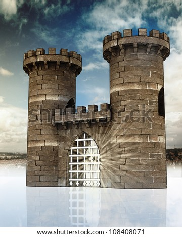 Medieval gate with closed steel lattice and two guard towers on town landscape in background with blue sky and reflection - stock photo