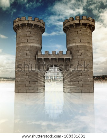 Medieval gate with open steel lattice and two guard towers on town landscape in background with blue sky and reflection - stock photo