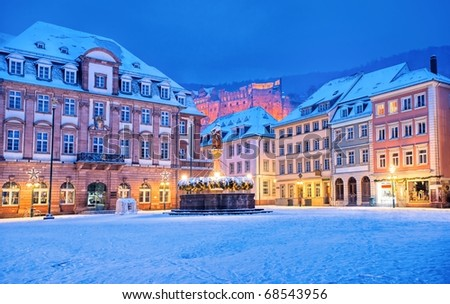 Medieval german town Heidelberg in winter - stock photo