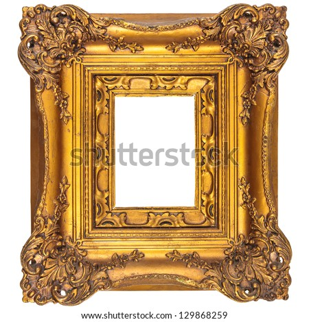 Medieval gilded picture frame isolated on a white background - stock photo