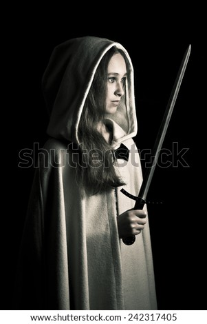 medieval girl with sword - stock photo