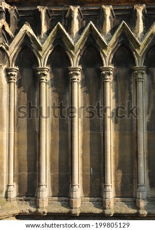 Medieval gothic architectural detail in Paris, France