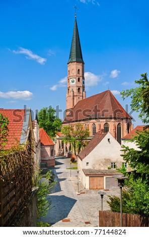 Medieval gothic church in german town near Munich - stock photo