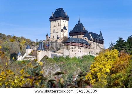 medieval gothic royal castle with ramparts n Karlstejn near Prague, Central Bohemia region, Czech republic. National cultural landmark. - stock photo