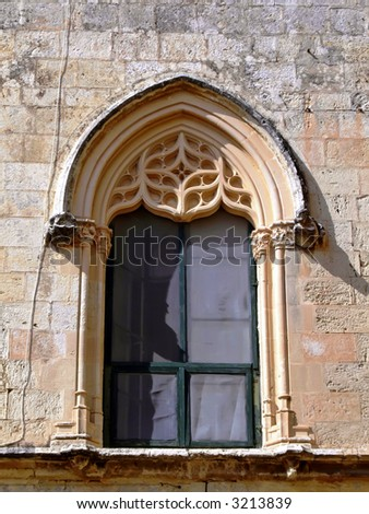 Medieval Gothic Window Of House In The Old City Mdina Malta