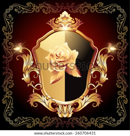 Medieval heraldic shield decorated ornate golden ornament with rose and crown - stock photo