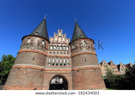 medieval Holstentor gate of Lubeck, unesco world heritage and landmark in Germany  - stock photo