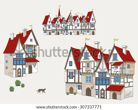 Medieval houses. Clipping path included.