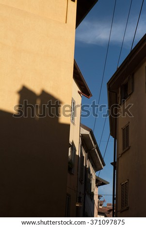 Medieval houses in the Citta Alta (Upper Town) in Bergamo, Lombardy, Italy.  - stock photo