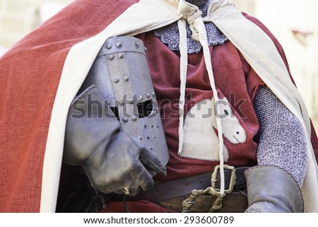 Medieval hull of a Knight Templar, detail of a metal helmet - stock photo