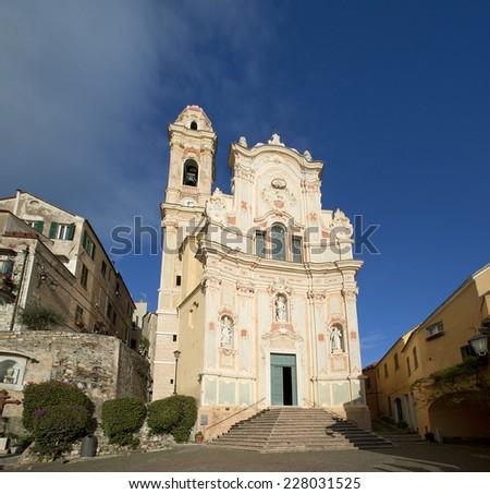 Medieval Italian Village, Cervo, Liguria, Italia with church - stock photo
