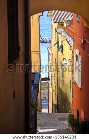 Medieval italian village Cervo, Liguria, Italy - stock photo