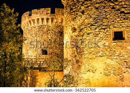 Medieval Kalemegdan fortress at night, Zindan gate. Belgrade, Serbia - stock photo