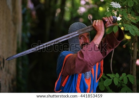 medieval knight - stock photo