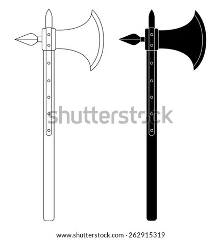Medieval knight battle ax with armor pierce. Contour lines clip art raster illustration isolated on white - stock photo