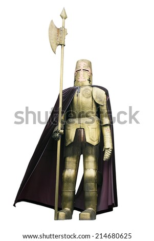 Medieval knight in shining armour with spear isolated on white background - stock photo