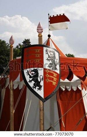 Medieval knight's armor in the castle festival Stettenfels - stock photo