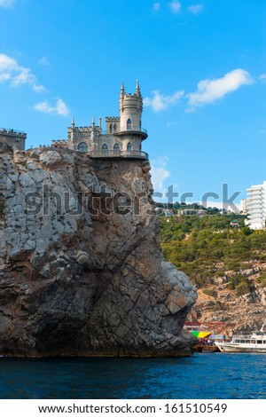 medieval knight's castle on a high cliff by the sea