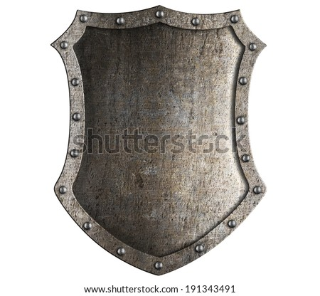 medieval knight shield isolated on white - stock photo