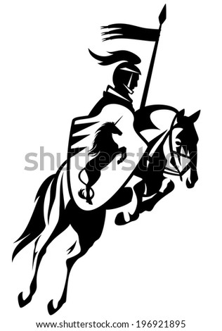 medieval knight with a heraldic unicorn shield riding horse and holding banner - black and white outline - stock photo