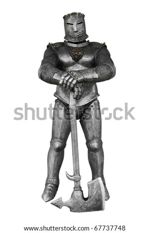 Medieval knight with an axe isolated on white - stock photo