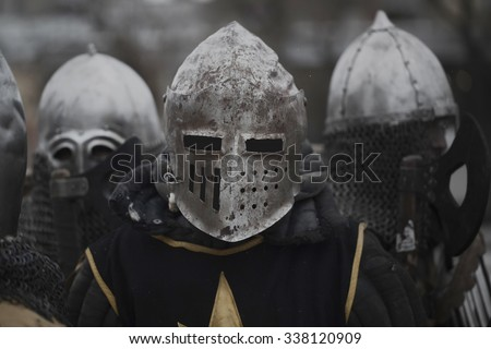 Medieval knights before the battle - stock photo